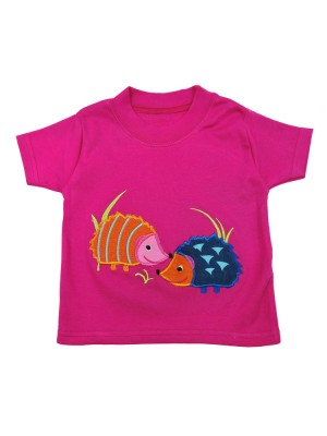 Short Sleeve Cerise T-Shirt with Hedgehog Applique (avail. 0 - 8yrs)