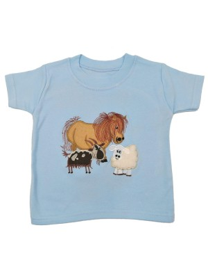 Short Sleeve Pale Blue T-Shirt Farmyard with Goat Applique (avail. 0 - 8yrs)
