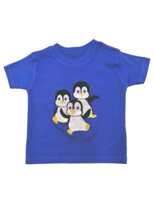 Short Sleeve Royal T-Shirt with a Penguin Applique (avail. 0 - 8yrs)
