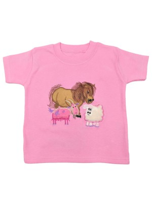 Short Sleeve Pale Pink T-Shirt Farmyard with Goat Applique (avail. 0 - 8yrs)