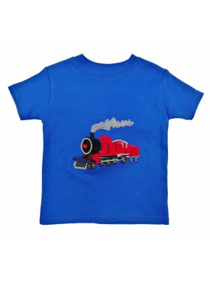 Short Sleeve Royal T-shirt with Red Train Applique (avail. 0 - 8yrs)