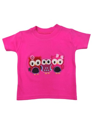 Short Sleeve Cerise T-shirt with 3 Little Owl Applique (avail. 0 - 8yrs)