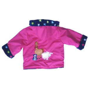 Cerise Water Resistant / Star Fleece Jacket with Farmyard Applique (avail. 6m - 4yrs)
