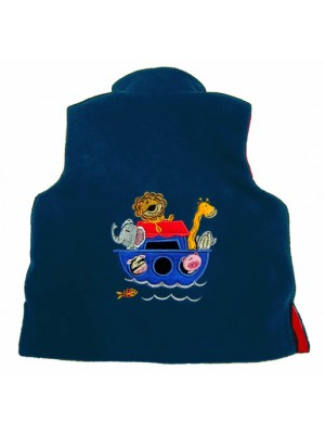 Navy Fleece/Red Cord Bodywarmer with Noah's Ark Applique (avail. 3m - 4yrs)
