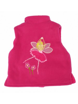 Cerise Fleece / Cerise Cord Bodywarmer with Fairy Applique (avail. 3m - 6yrs)