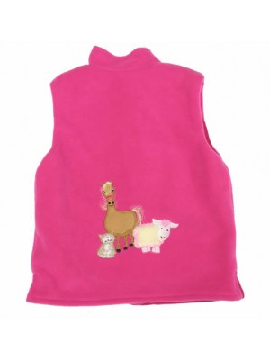 Cerise Fleece / Cerise Cord Bodywarmer with Farmyard Gathering Applique (avail. 3m - 8yrs)