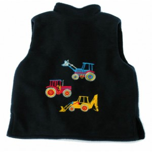 Navy Fleece / Navy Cord Bodywarmer with 3 Vehicle Applique (avail. 3m - 10yrs)