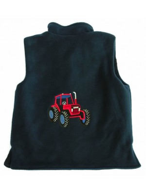 Navy Fleece/Navy Cord Bodywarmer with Red Tractor Applique (avail. 3m - 8yrs)