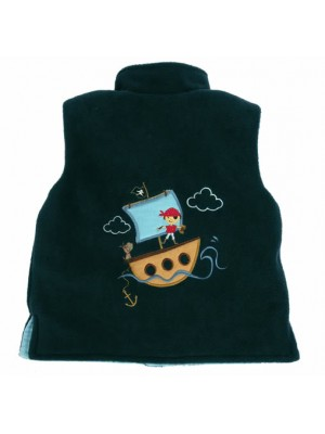 Navy Fleece/Pale Blue Cord Bodywarmer with Boy Pirate Ship Applique (avail. 3m - 4yrs)