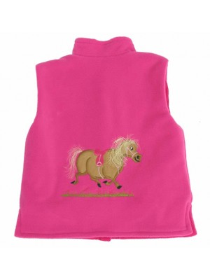 Cerise Fleece / Cerise Cord Bodywarmer with a Pony Applique (avail. 3m - 10yrs)