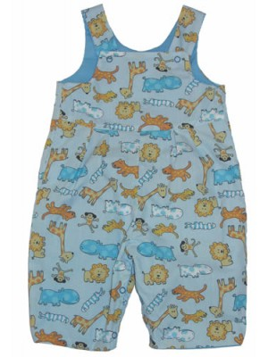 Pale Blue Jungle Dungarees (avail. 3-6m only) Sale