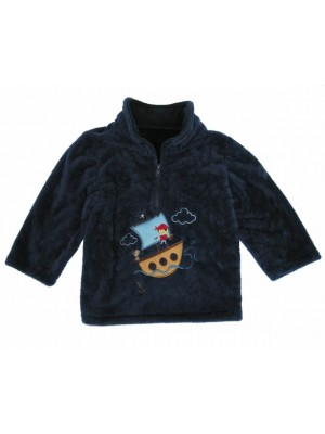 Navy Cuddle Fleece with Boy Pirate Ship Applique (avail. 6m - 4yrs)