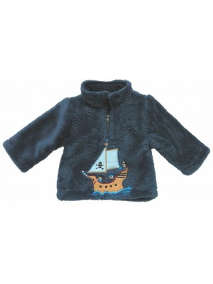 Navy Cuddle Fleece with Pirate Ship Applique (avail. 6m - 8yrs)