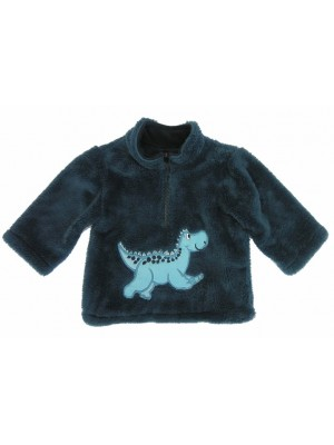 Navy Cuddle Fleece with Dinosaur Applique (avail. 6m - 6yrs)