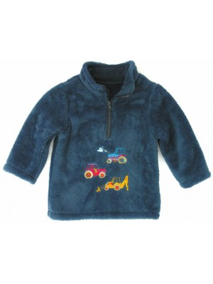 Navy Cuddle Fleece with 3 Vehicles Applique (avail. 6m - 8yrs)