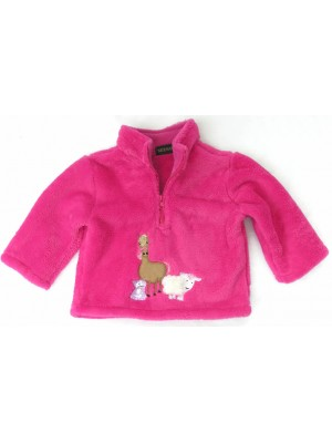 Cerise Fleece with Farmyard Gathering Applique (avail. 6m - 6yrs)