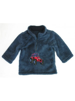 Navy Cuddle Fleece with Tractor Applique (avail. 6m - 8yrs)