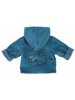 Petrol Cord/Aqua Stripe Jacket with 3 Vehicle Applique (avail. 3-6mth only) Sale