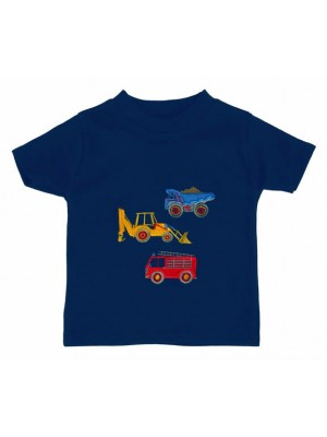 Short Sleeve Navy T-shirt with 3 Vehicle-Fire Engine (avail. 3m - 6yrs)