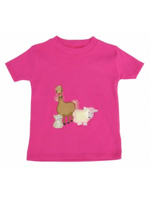 Short Sleeve Cerise T-Shirt with Farmyard Gathering Applique (avail. 3m -8yrs)