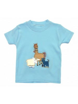 Short Sleeve Pale Blue T-Shirt with Farmyard Gathering Applique (avail. 0 - 4yrs)