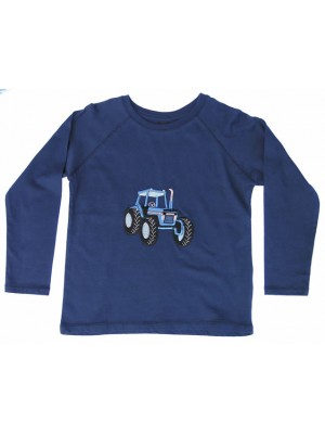 Long Sleeve Navy T-Shirt with Blue Tractor (avail. 6m - 8yrs)