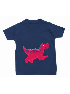 Short Sleeve Navy T-Shirt with Dinosaur Applique (avail. 6m - 8yrs)