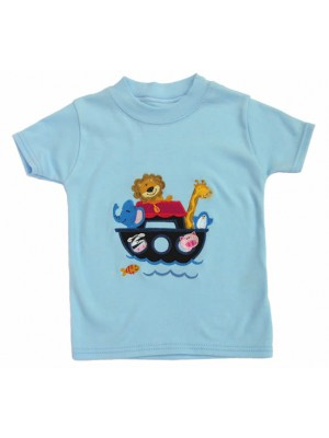 Short Sleeve Pale Blue T-Shirt with Noah's Ark Applique (avail. 0 - 2yrs)