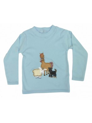 Long Sleeve Pale Blue T-Shirt with Farmyard Gathering Applique (avail. 0 - 4yrs)