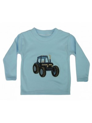Long Sleeve Pale Blue T-Shirt with Tractor Applique (avail. 0 - 4yrs)