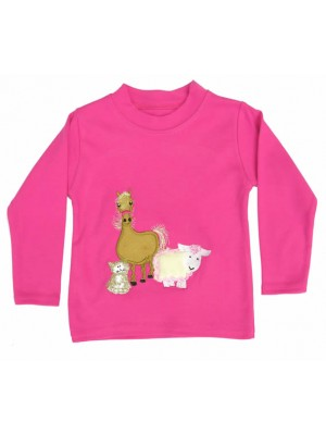 Long Sleeve Cerise T-Shirt with Farmyard Gathering Applique (avail. 3m - 8yrs)