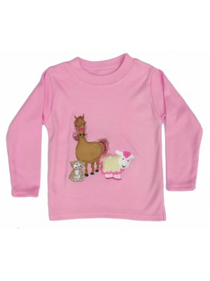 Long Sleeve Pale Pink T-Shirt with Farmyard Gathering Applique (avail. 0 - 6yrs)