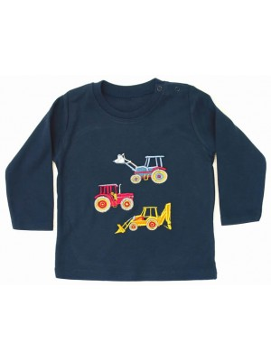 Long Sleeve Navy T-Shirt with 3 Vehicle Applique (avail. 6m - 8yrs)