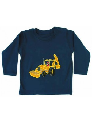Long Sleeve Navy T-Shirt with Digger Applique (avail. 6m - 8yrs)