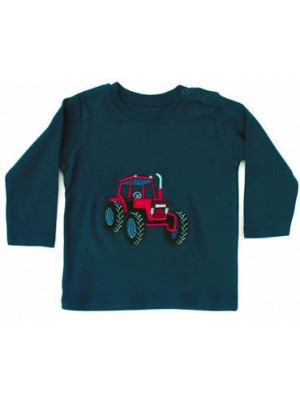 Long Sleeve Navy T-Shirt with Red Tractor Applique (avail. 6m - 8yrs)