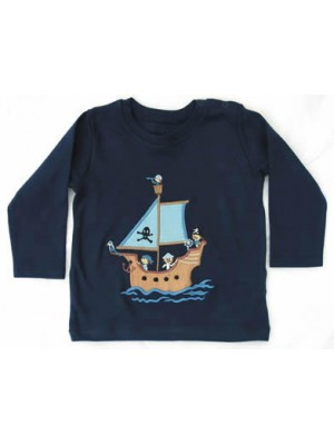 Long Sleeve Navy T-Shirt with Pirate Ship Applique (avail. 6m - 8yrs)