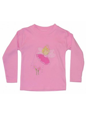 Long Sleeve Light Pink T-Shirt with Fairy Applique (avail. 0 - 6yrs)