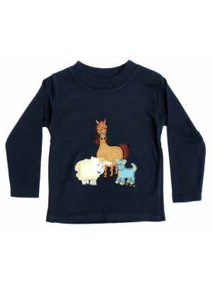 Long Sleeve Navy T-Shirt with Farmyard Gathering Applique (avail. 6m - 4yrs)