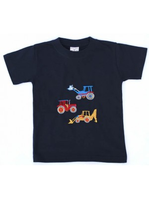 Short Sleeve Navy T-Shirt with 3 Vehicle Applique (avail. 6m - 8yrs)
