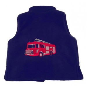 Navy Fleece / Navy Cord Bodywarmer with Fire Engine Applique (avail. 6m- 4yrs)
