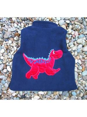 Navy Fleece/Navy Cord Bodywarmer with Red Dinosaur Applique (avail. 3m - 8yrs)