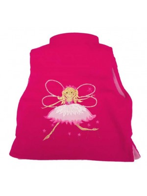 Cerise Cord / Pink Star Fleece Bodywarmer with Fairy Applique (avail. 3m - 6yrs)