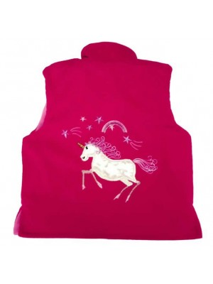 Cerise Cord / Pink Star Fleece Bodywarmer with Unicorn Applique (avail. 3m - 8yrs)