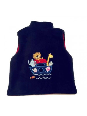 Navy Fleece / Red Cord Bodywarmer with Noah's Ark Applique (avail. 3m - 4yrs)