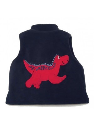 Navy Fleece / Navy Cord Bodywarmer with Red Dinosaur Applique (avail. 3m - 8yrs)