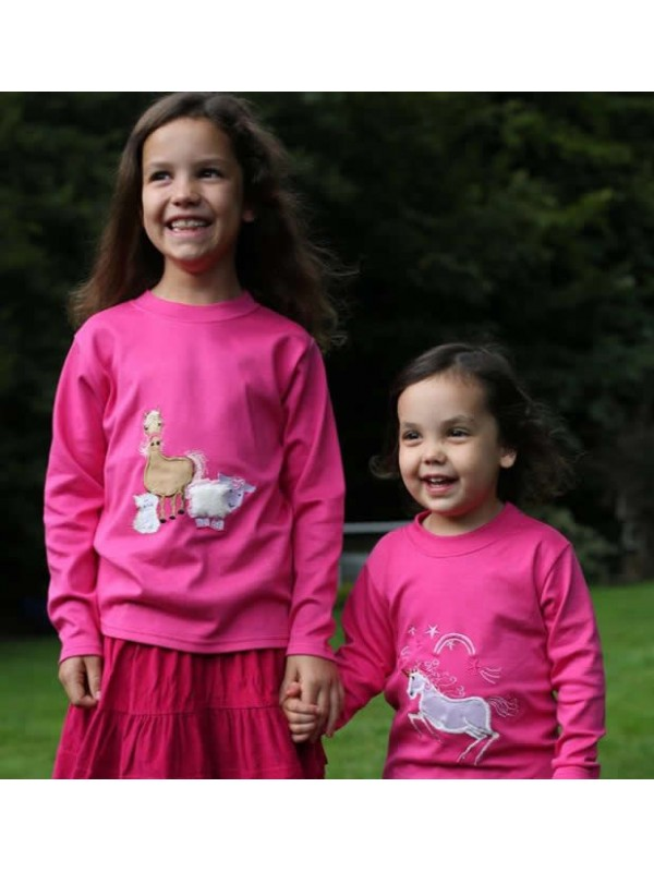 Long Sleeve Cerise T-Shirt with Unicorn Applique (avail. 3m - 8 yrs)