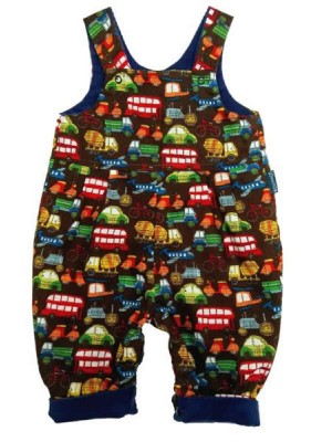 Brown Truck Reversible Dungarees (avail. 3m - 2yrs)
