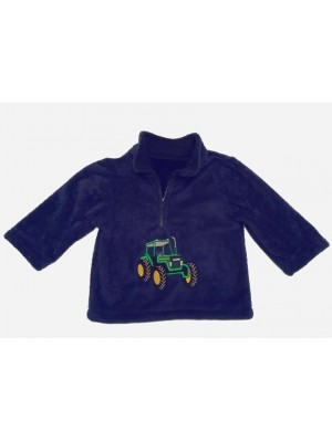 Navy Cuddle Fleece with Green Tractor Applique (avail. 6m -6 yrs)