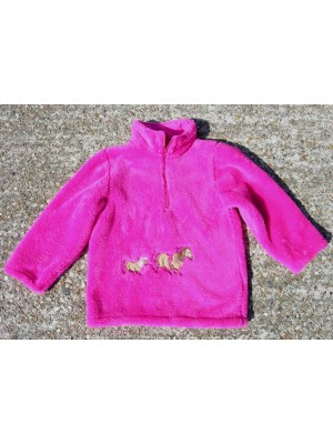 Cerise Fleece with 2 Pony Applique (avail. 6m - 10yrs)