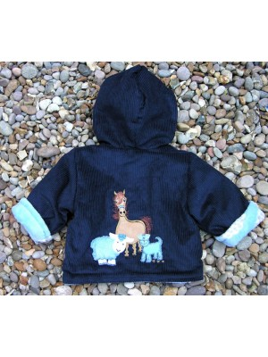 Navy Cord/Blue Sheep Jacket with Farmyard Gathering Applique (avail. 3m - 2yrs)